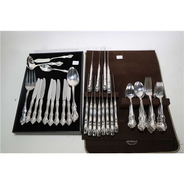Selection of Rogers Bros. Orleans silver plate flatware including setting for twelve of dinner knive
