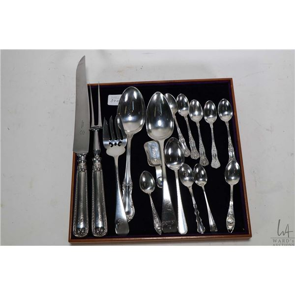 Selection of sterling silver including carving set, five matched teaspoons, two serving spoons, serv