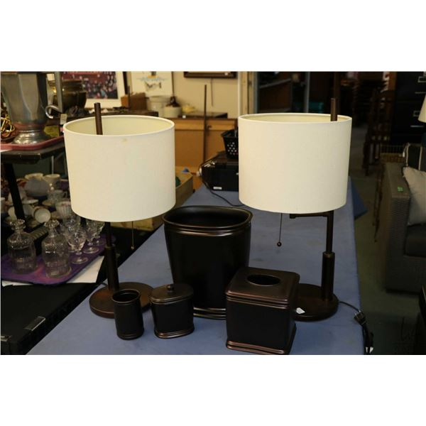 Selection of decor items including two matching lamps and bathroom accessories