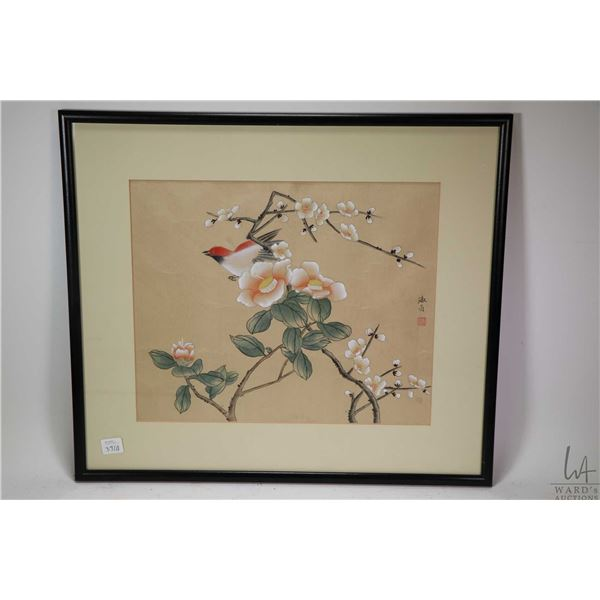 """Framed original Oriental watercolour painting of blossoms and bird signed by artist, 12"""" X 14"""""""