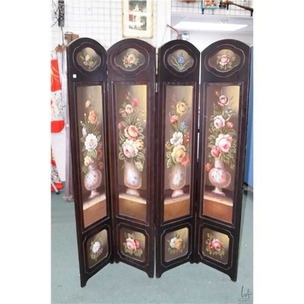 """Hand painted four panel room divider, each panel is 71"""" X 16"""""""