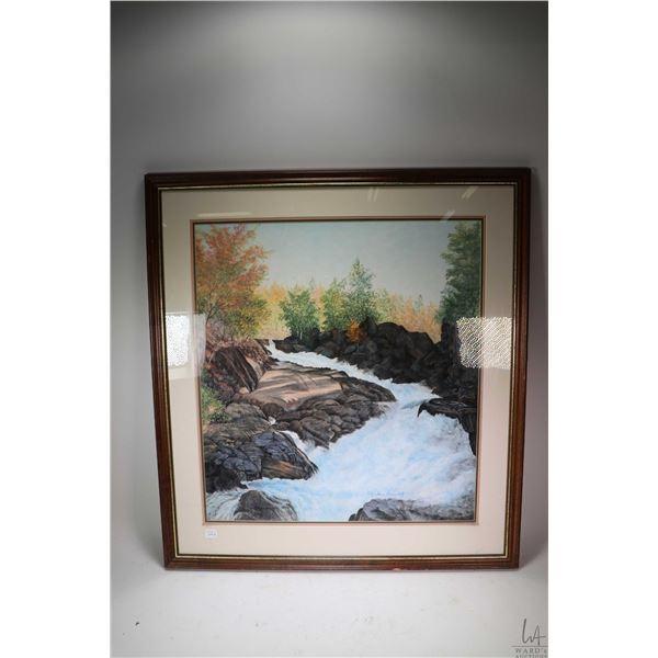 "Framed original pastel on paper mountain creek signed by artist Gordi Pogontcheff, 24"" X 22"""