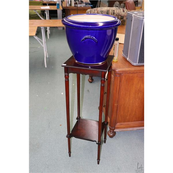"""Ikea glazed pottery planter 16"""" diameter and a modern two tier stand, 36"""" in height"""
