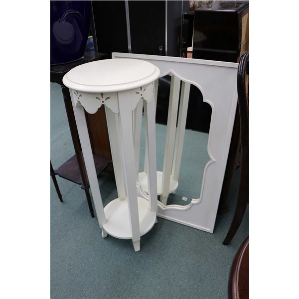 """Round painted two tier plant stand 36"""" in height and a modern white framed wall mirror, outside dime"""