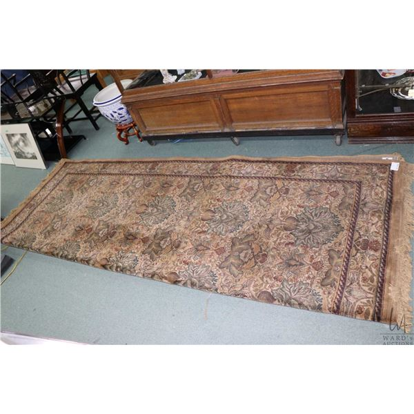 Egyptian made 100% Weav-lon Polyolefin area carpet with floral design in shades of taupe, sage, gree