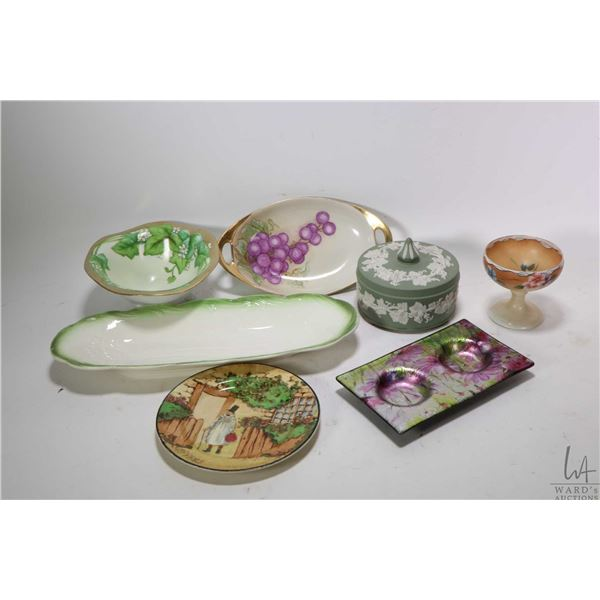 Selection of glass and porcelain collectibles including lidded Wedgwood dresser jar, hand painted fo
