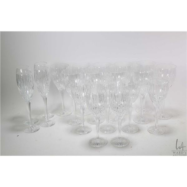 Nineteen pieces of Edinburgh, Scotland crystal stemware including white wine and red wine goblets
