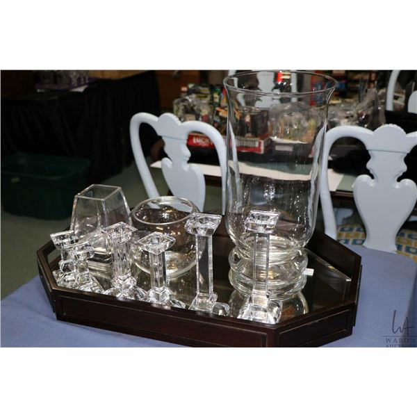 Modern mirrored serving tray, three pairs of graduated sized Villeroy & Boch candlestick, small rose