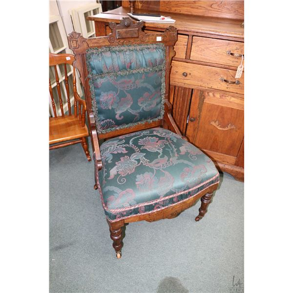 Antique Eastlake open arm parlour chair and a fireplace draft screen with needlework panel