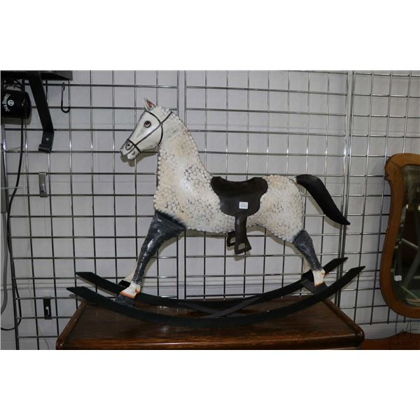 Stamped tin hand painted rocking horse