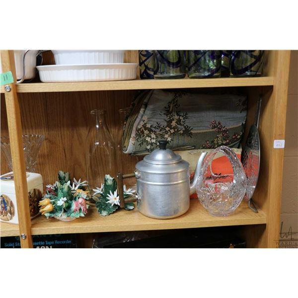 Shelf lot of vintage collectibles including crystal fruit bowl, shrimp dishes, lidded trinket box, c