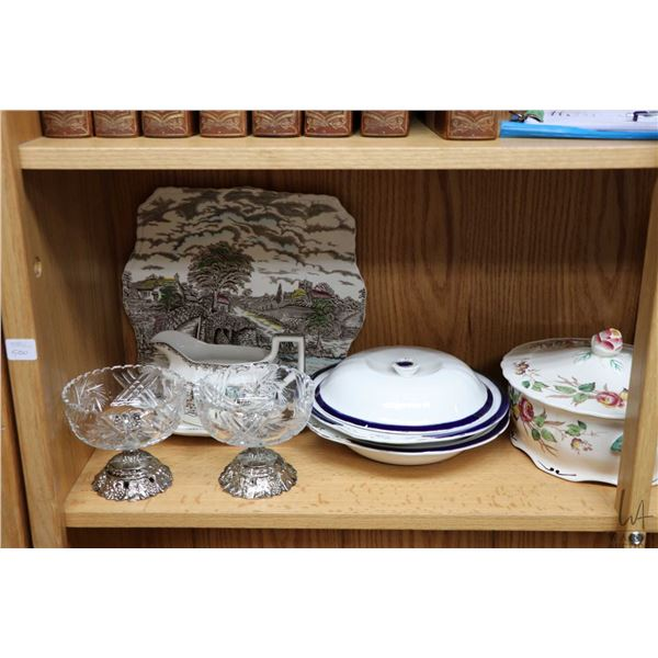 Shelf lot of vintage collectibles including ironstone  Shakespeare's Sonnets  gravy boat with drip t