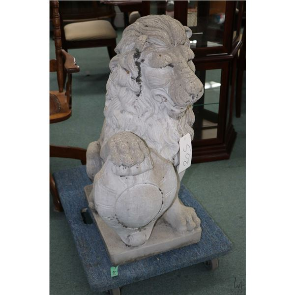 """Concrete seated lion with shield 34"""" in height, facing left, Not Available For Shipping. Local Picku"""