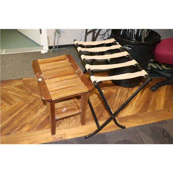 Folding luggage rack and a small slat wood bench