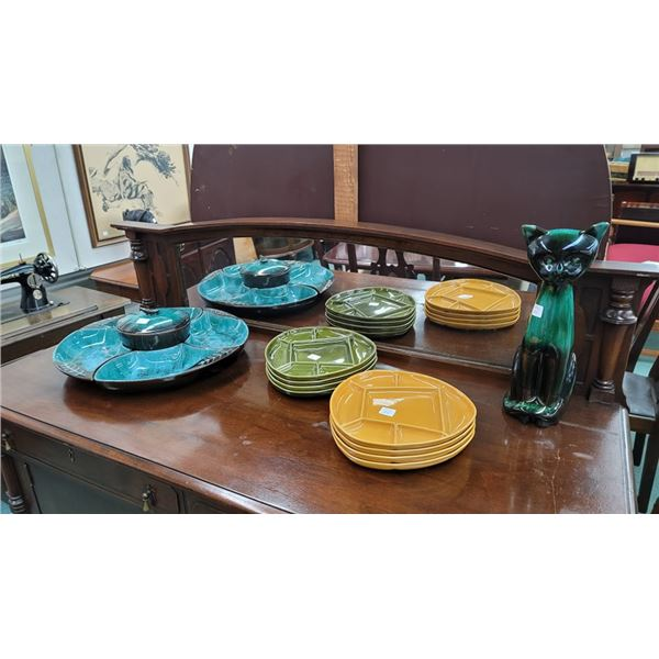 Blue Mountain Pottery divided serving, eight Sunburst divided dishes and a