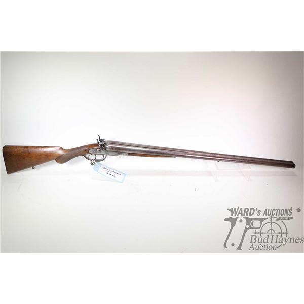 "Non-Restricted shotgun Thomas Turner model SXS, 12Ga two shot hinge break, w/ bbl length 30"" [Blued"