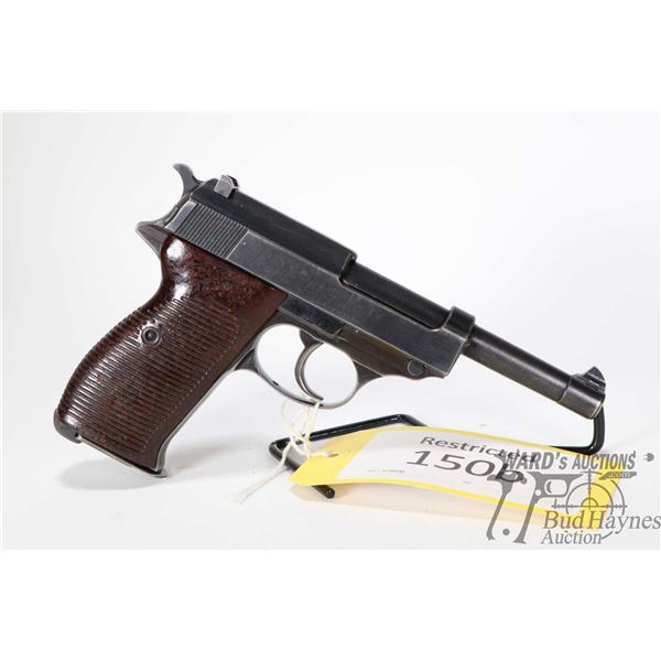 Restricted handgun Walther model P38, 9mm eight shot semi automatic, w/ bbl length 120mm [Blued fini