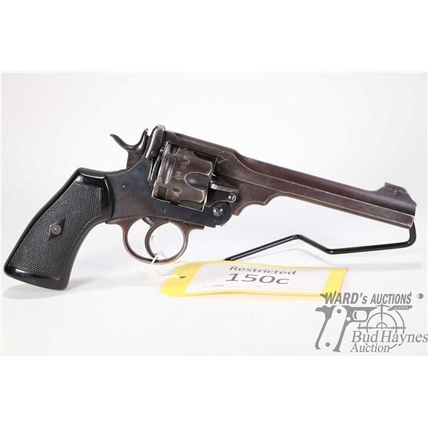 Restricted handgun Webley model MK VI, .455 cal six shot double action revolver, w/ bbl length 152mm