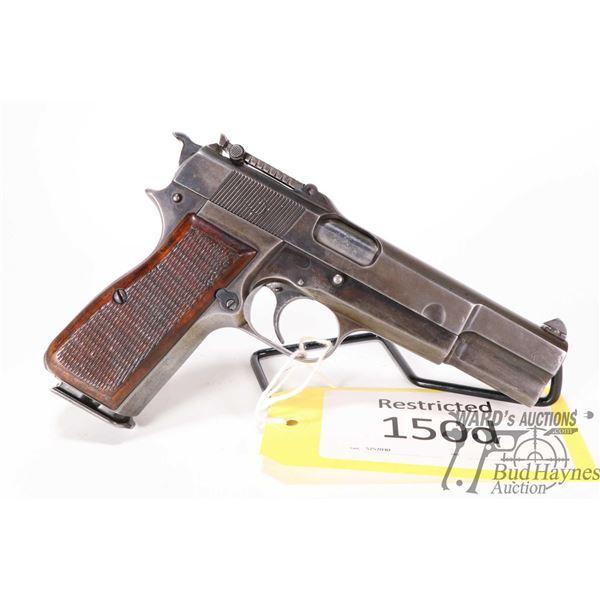 Restricted handgun FN Browning model Hi-Power, 9mm Luger ten shot semi automatic, w/ bbl length 118m