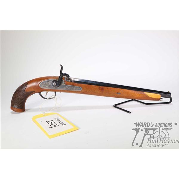 Restricted handgun Armas Ego model muzzle loader, .41 at muzzle single shot percussion, w/ bbl lengt