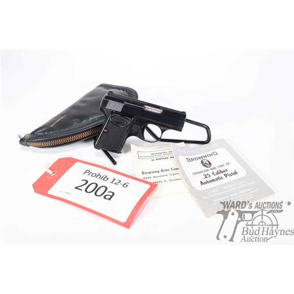 Prohib 12-6 handgun Browning model Baby, 6.35 mm and .25 cal six shot semi automatic, w/ bbl length