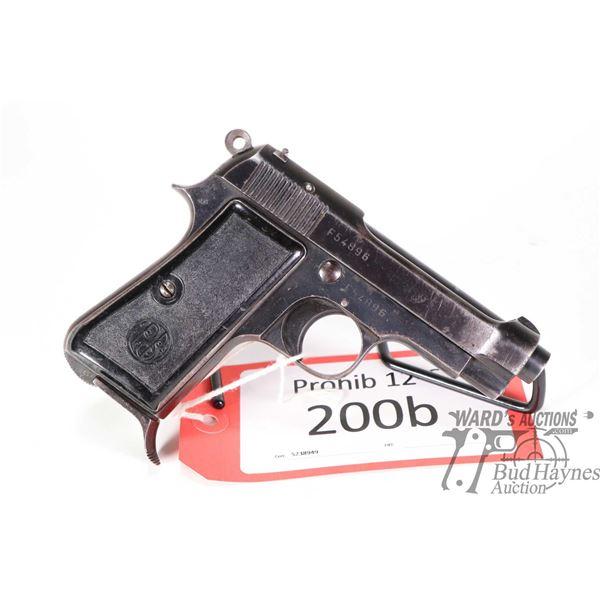 Prohib 12-6 handgun Beretta model 1934, 9 Corto semi automatic, w/ bbl length 86mm [Blued finish, fi