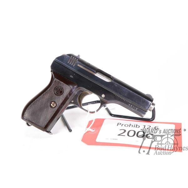 Prohib 12-6 handgun CZ (Bohmische Waffenabrik model 27, 7.65mm semi automatic, w/ bbl length 98mm [B