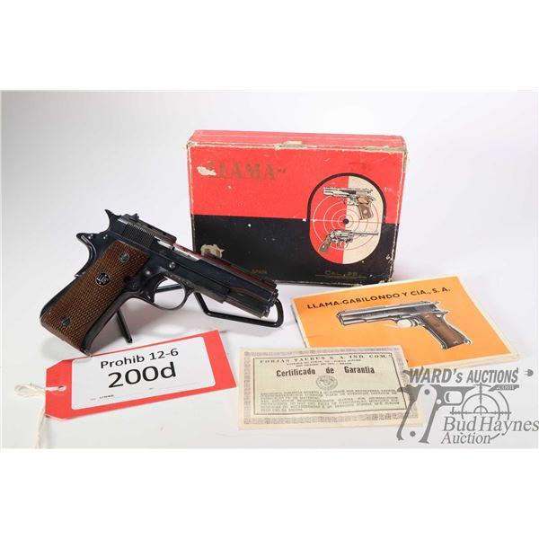 Prohib 12-6 handgun Llama model Especial, .22 LR ten shot semi automatic, w/ bbl length 89mm [Blued