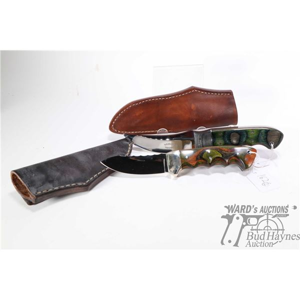 """Two custom R. R. Dilling, Ducks Unlimited knives including one marked """"Airdri 1998 and one marked Ai"""