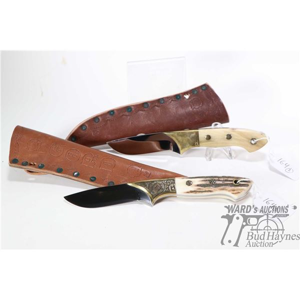Two high quality custom made knives with antler handles and brass fittings. Both with custom made by