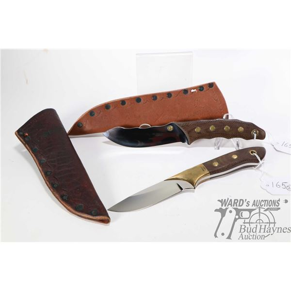 Two high quality custom made knives. Both knives have snakeskin like handles with brass fittings and