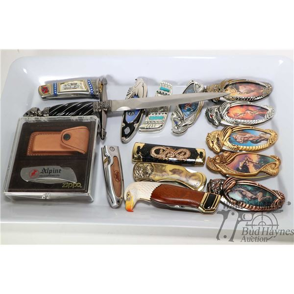 Tray lot of fifteen knives including six Knightstone Collections featuring dragons and images of fan