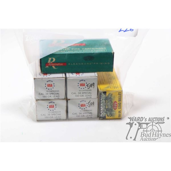 Four fifty count boxes of USA white box .38 Four fifty count boxes of USA white box .38 Special 150