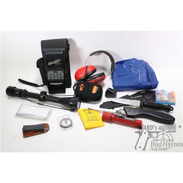 Selection of hunting and fishing accessories Selection of hunting and fishing accessories including