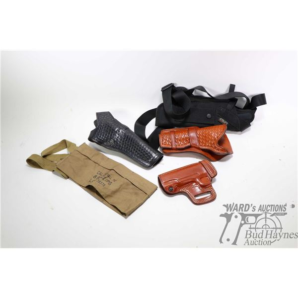 Selection  of leather and webbed holsters Selection  of leather and webbed holsters including Uncle