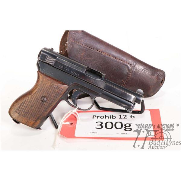Prohib 12-6 Mauser 1914 Prohib 12-6 Mauser model 1914 7.65mm w/ bbl length 89mm serial # 562295 cert
