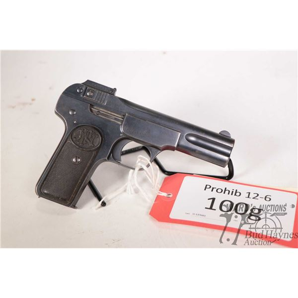Prohib 12-6 handgun FN model 1900, 7.65mm seven shot semi automatic, w/ bbl length 102mm [Blued fini