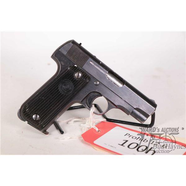 Prohib 12-6 handgun Unique model 17, 7.65mm nine shot semi automatic, w/ bbl length 82mm [Blued fini