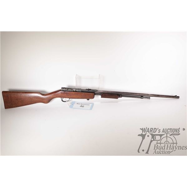 """Non-Restricted rifle Cooey model Repeater, .22 pump action, w/ bbl length 24"""" [Blued barrel and rece"""