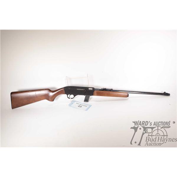 "Non-Restricted rifle Gevarm model E1, 22LR ten shot semi automatic, w/ bbl length 19 1/4"" [Blued bar"