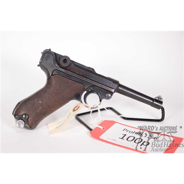 Prohib 12-6 handgun Luger (BYF) model P08, 9mm Luger six shot semi automatic, w/ bbl length 102mm [B