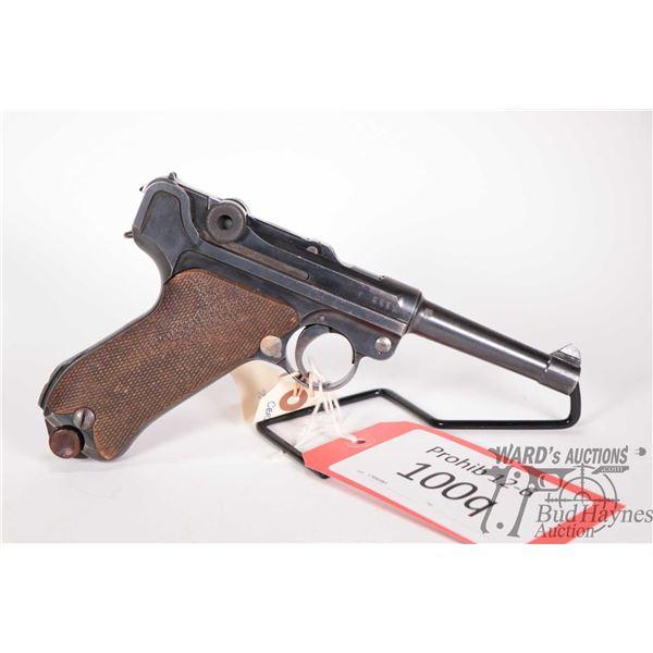Prohib 12-6 handgun Luger (DWM) model P08, 9mm Luger eight shot semi automatic, w/ bbl length 101mm