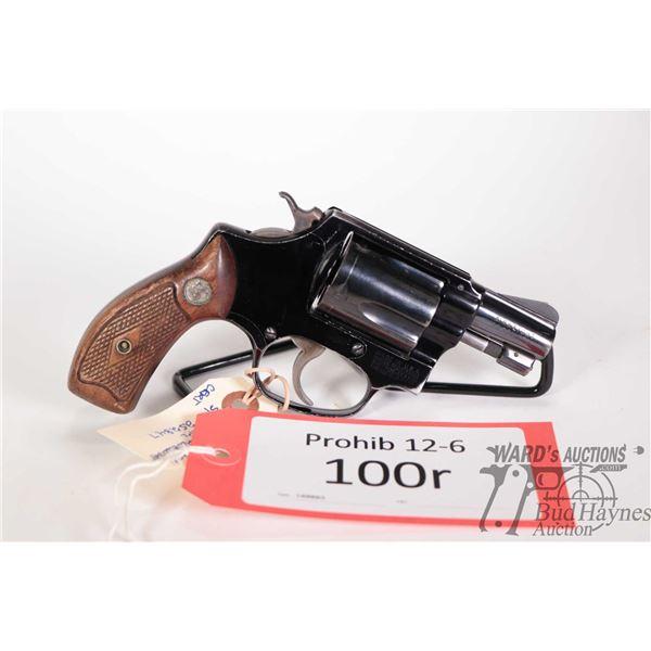 Prohib 12-6 handgun Smith & Wesson model 37 Airweight, .38 Spl five shot double action revolver, w/
