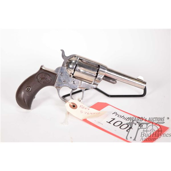 Prohib 12-6 handgun Colt model 1877 DA Lightning, .38 CF six shot double action revolver, w/ bbl len