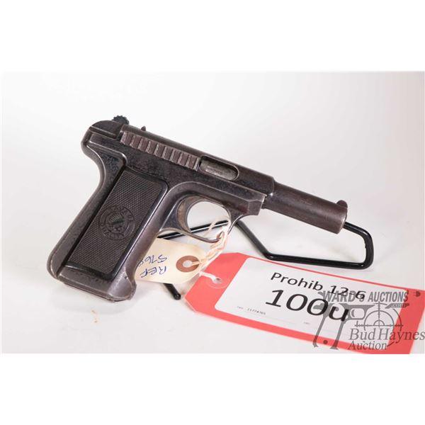 Prohib 12-6 handgun Savage Arms model 1907, .32 Auto ten shot semi automatic, w/ bbl length 95mm [Bl