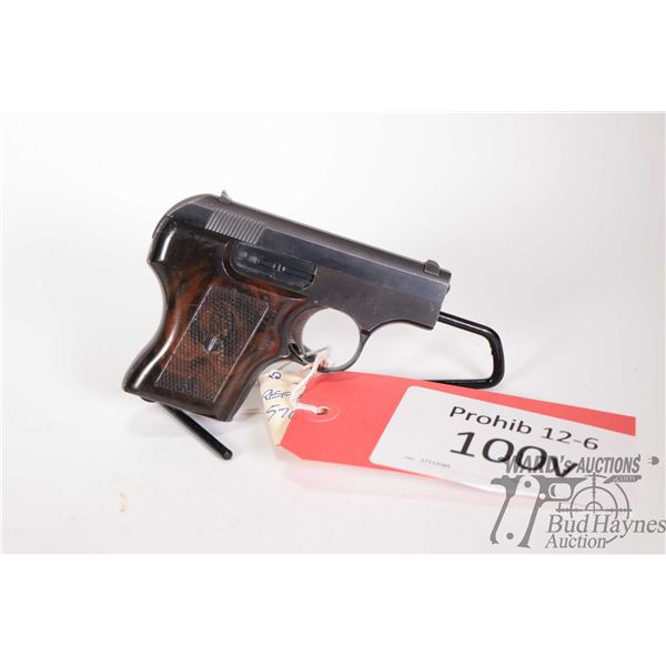Prohib 12-6 handgun Smith & Wesson model 61, 22LR five shot semi automatic, w/ bbl length 54mm [Blue