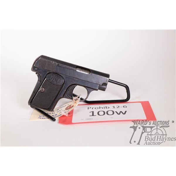 Prohib 12-6 handgun FN Browning model 1906, .25 Auto six shot semi automatic, w/ bbl length 54mm [Bl