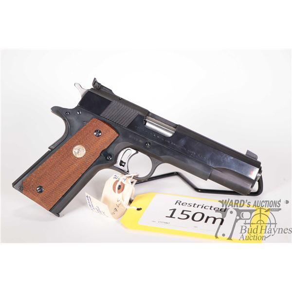 Restricted handgun Colt model MK III National Mid Range, .38 Special Wad Cutter five shot semi autom