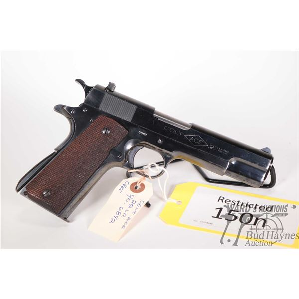 Restricted handgun Colt model Ace, 22LR ten shot semi automatic, w/ bbl length 120mm [Blued finish w