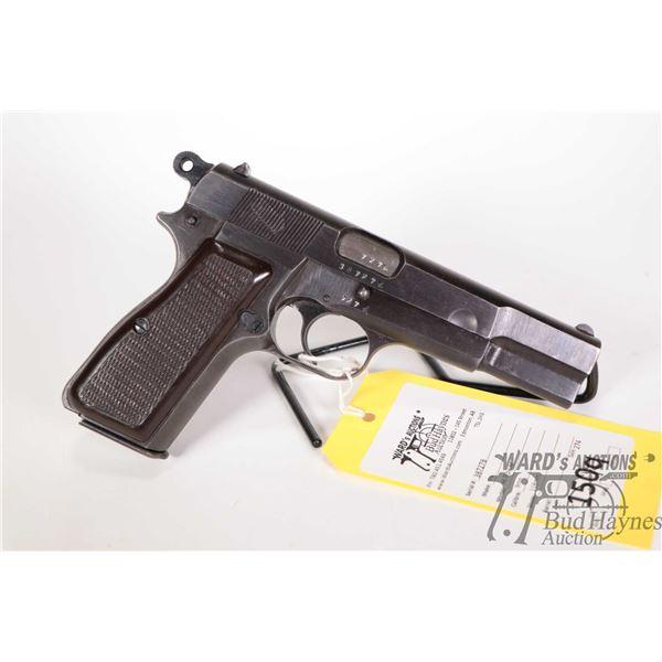 Restricted handgun FN model Hi Power, 9mm semi automatic, w/ bbl length 118mm [Blued finish. Fixed f